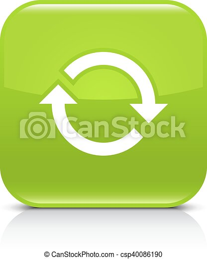 Green arrow repeat, reload, refresh, rotation icon - csp40086190