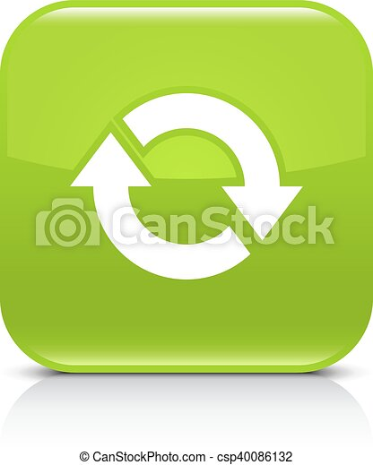 Green arrow repeat, reload, refresh, rotation icon - csp40086132