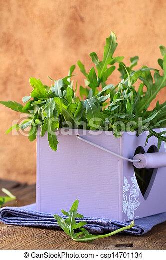 green arugula salad in a wooden box - csp14701134