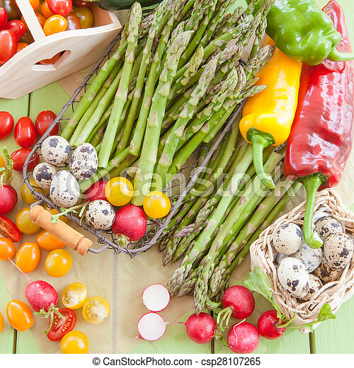 Green asparagus and other fresh vegetables - csp28107265