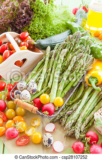Green asparagus and other fresh vegetables - csp28107252