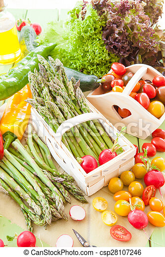 Green asparagus and other fresh vegetables - csp28107246