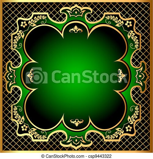 Illustration Green Background Frame With Golden Pattern M Net