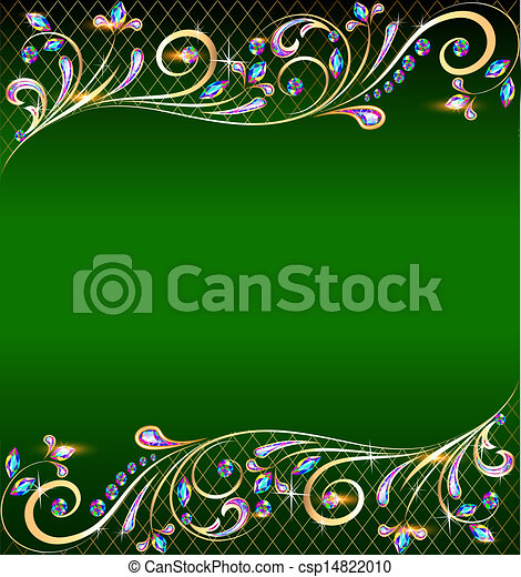 green background with jewels, golden ornament and stars - csp14822010