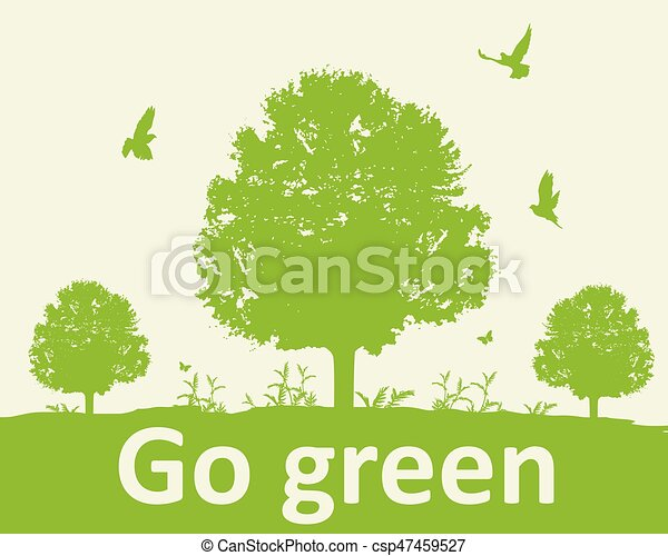 Green background with tree - csp47459527