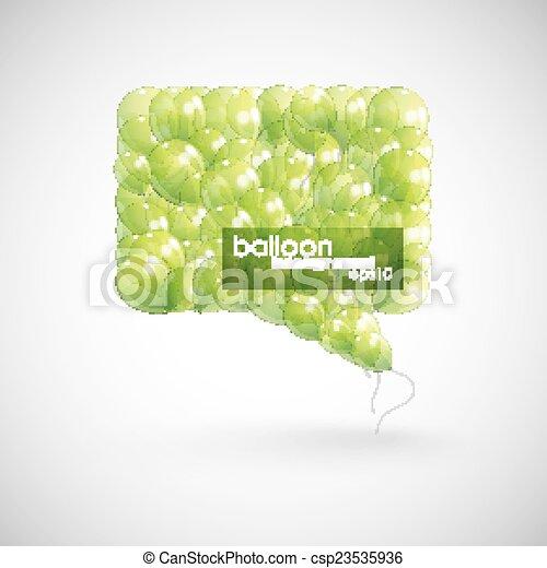green balloon speech bubble - csp23535936