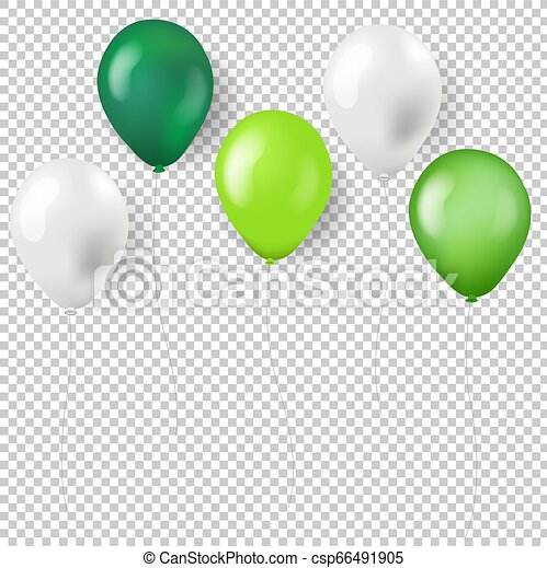 Green Balloons Isolated Transparent Background - csp66491905