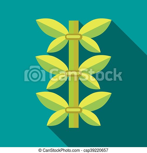 Green bamboo icon, flat style - csp39220657