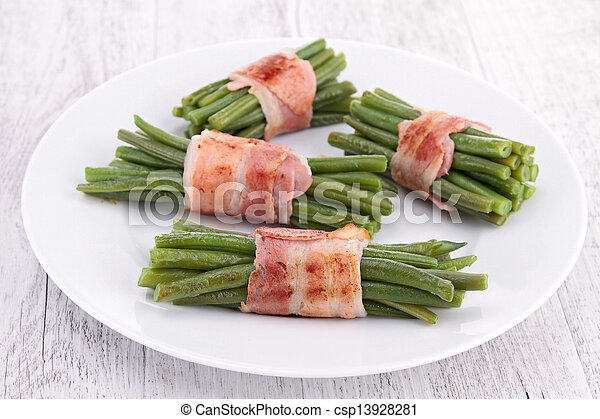 green bean wrapped in bacon - csp13928281