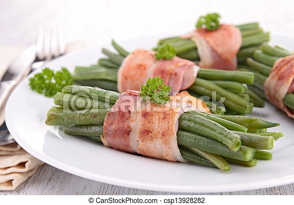 green bean wrapped in bacon - csp13928282