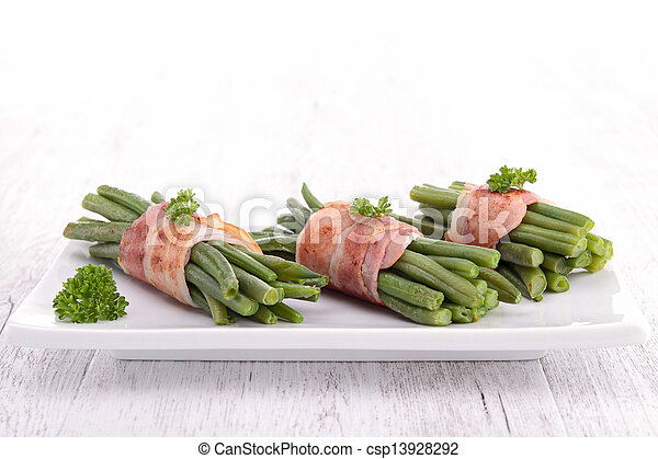 green bean wrapped in bacon - csp13928292
