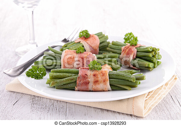green bean wrapped in bacon - csp13928293