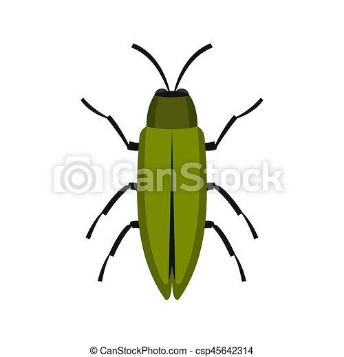 Green beetle icon, flat style - csp45642314