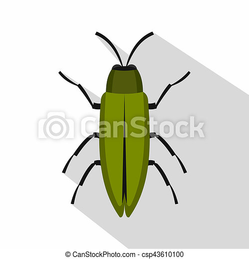 Green beetle icon, flat style - csp43610100
