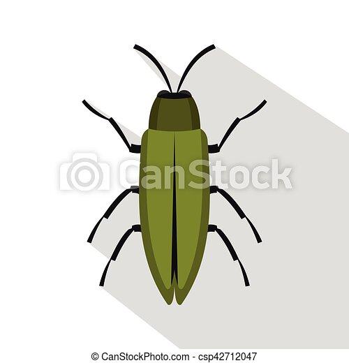 Green beetle icon, flat style - csp42712047