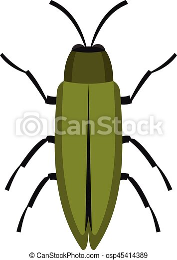 Green beetle icon, flat style - csp45414389