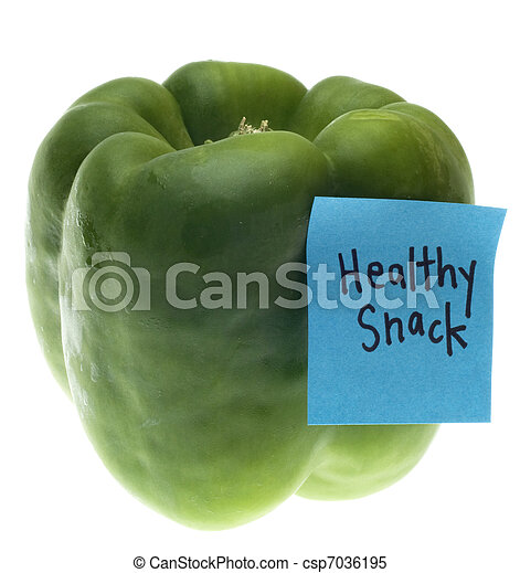 Green Bell Pepper with Healthy Snack Note - csp7036195