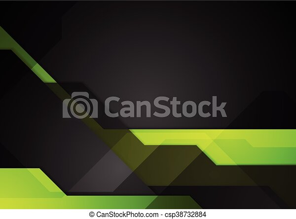 Green Black Abstract Tech Background   Csp38732884