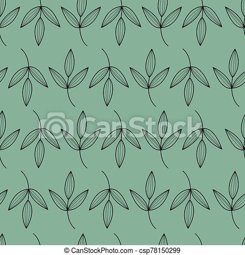 Green, black seamless floral pattern. Beautiful leaves repeat background. Elegant fabric on dark background. Surface pattern design. Vector. - csp78150299