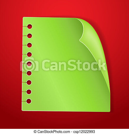 green blank note page on red new year background csp12022993