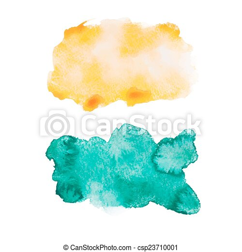 Green blue colorful abstract hand draw watercolour aquarelle art paint splatter stain on white background Vector illustration - csp23710001