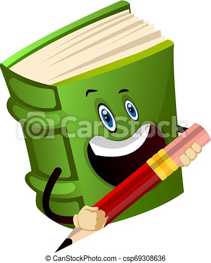 Green book is holding a pencil, illustration, vector on white background. - csp69308636