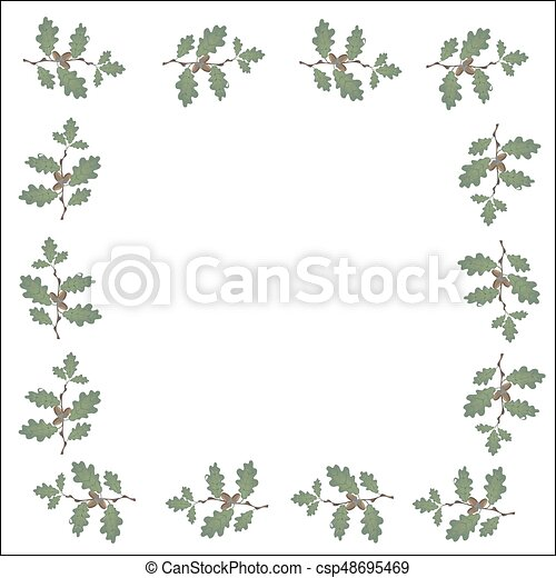 Green branches of oak with acorns in the form of a frame. Volumetric drawing without a grid and a gradient. Isolated on white background. illustration - csp48695469