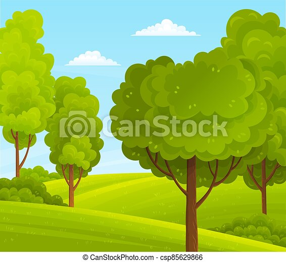 Green bright trees with a lush crown, thick brown trunk and branches in a natural hills landscape - csp85629866
