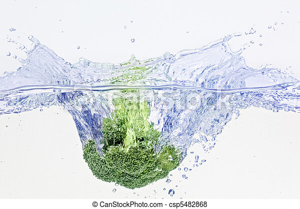 Green broccoli falling in water with air bubbles - csp5482868
