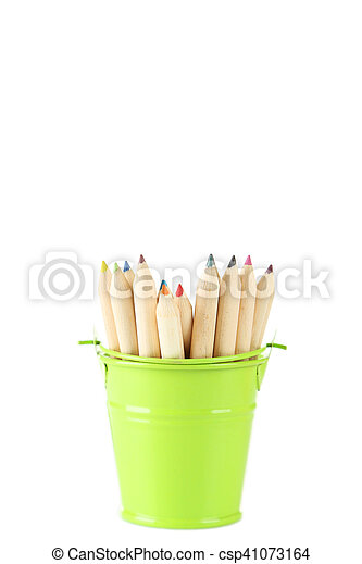 Green bucket with pencils isolated on white - csp41073164