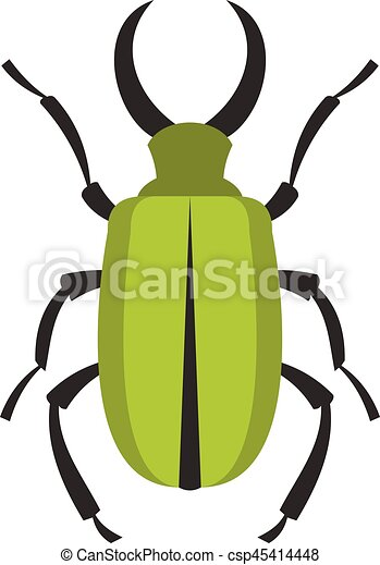 Green bug icon, flat style - csp45414448