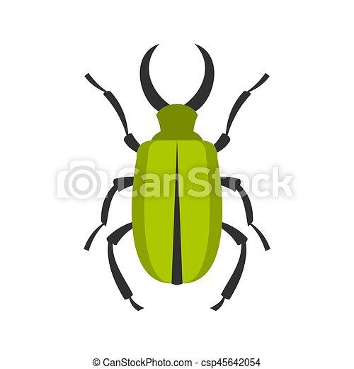 Green bug icon, flat style - csp45642054