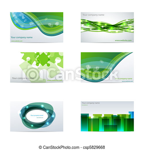 Green Business Cards Vector Set With Different