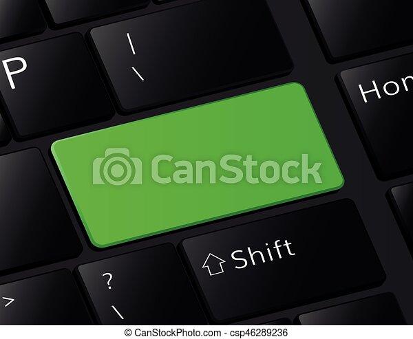 Green button on keyboard macro illustration empty blank - csp46289236