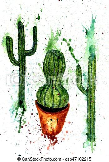 green cactus art watercolor painting of green cactus hand drawn