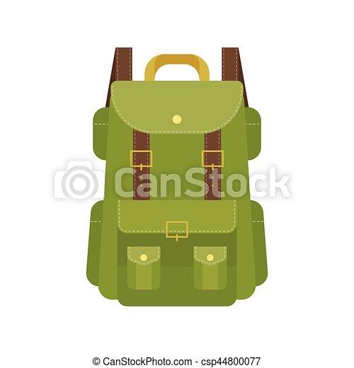 Green camping backpack illustration, flat design vector - csp44800077