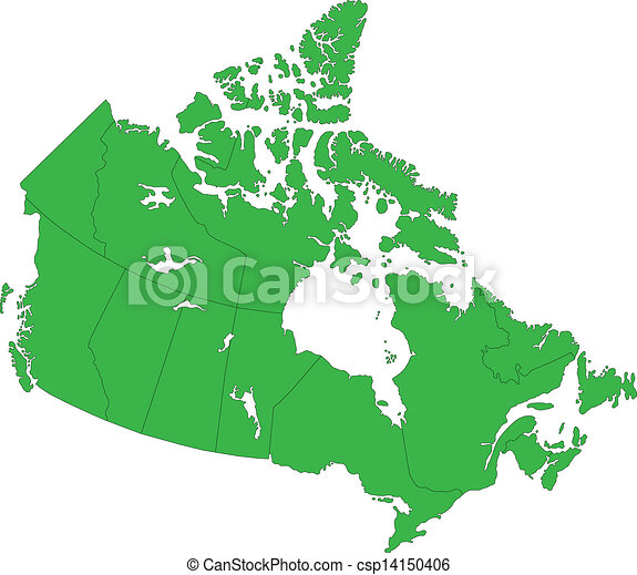 Green canada map with province borders vector clipart Search
