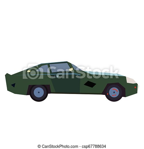 Green car flat illustration on white - csp67788634