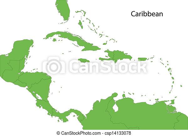 Green Caribbean map - csp14133078