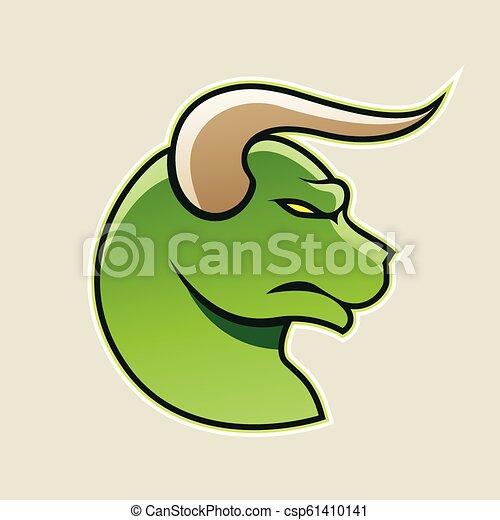 Green Cartoon Bull Icon Vector Illustration - csp61410141