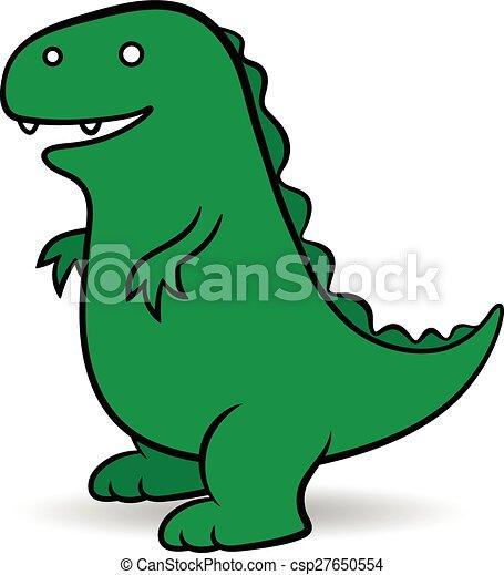 Green cartoon Godzilla monster - csp27650554