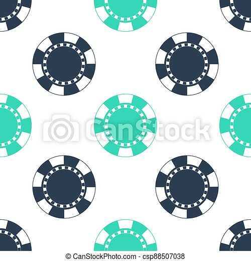 Green Casino chip icon isolated seamless pattern on white background. Vector - csp88507038