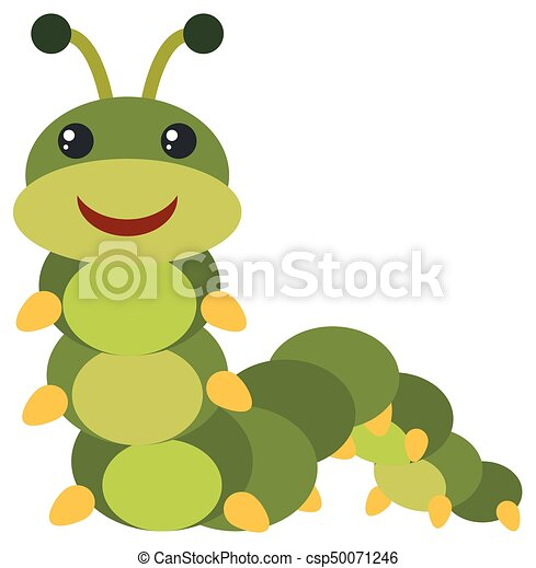 Green caterpillar with happy face - csp50071246