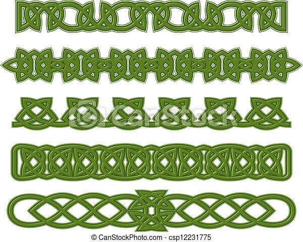 Green celtic ornaments - csp12231775