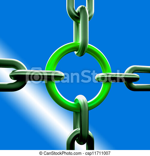 Green Chain Link Shows Strength Security - csp11711007