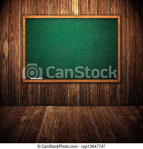 Green chalkboard in wooden interior - csp13647747