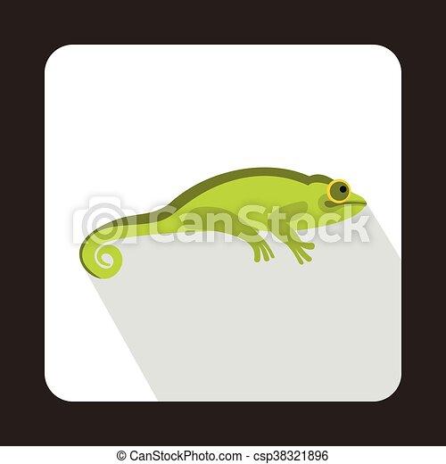 Green chameleon icon, flat style - csp38321896