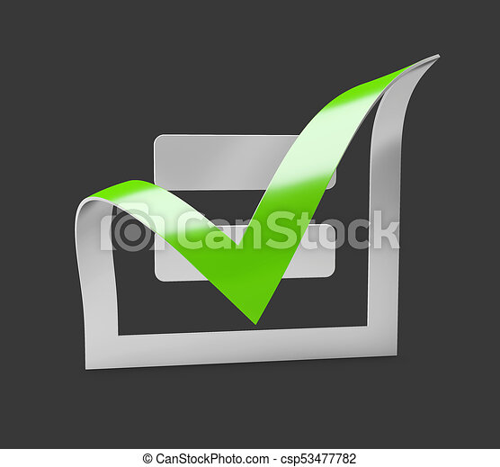 Green Check Mark Icon Tick Symbol In Green Color 3d Illustration
