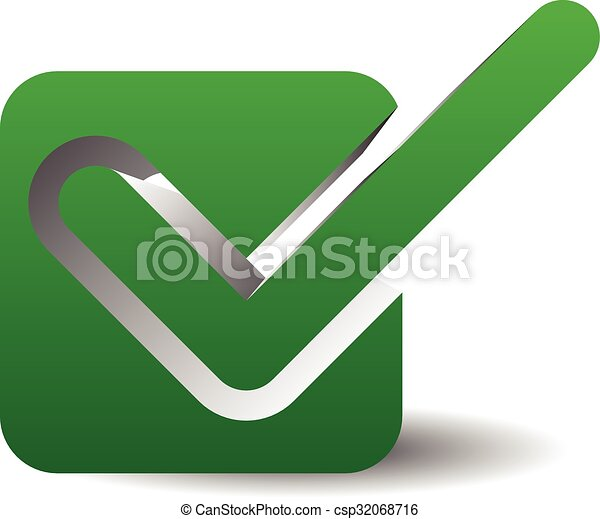 Green Check Mark Over Square Tick Symbol Icon