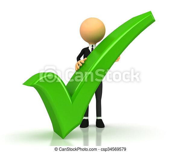 green checkmark on white background - csp34569579